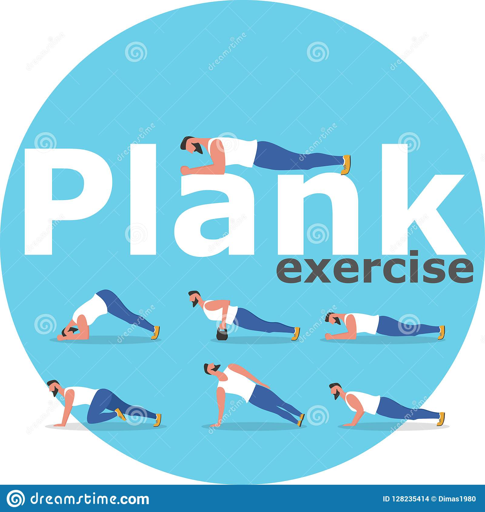 Fitness Man Doing Planking Exercise Stock Vector Illustration Of Banner Body 128235414