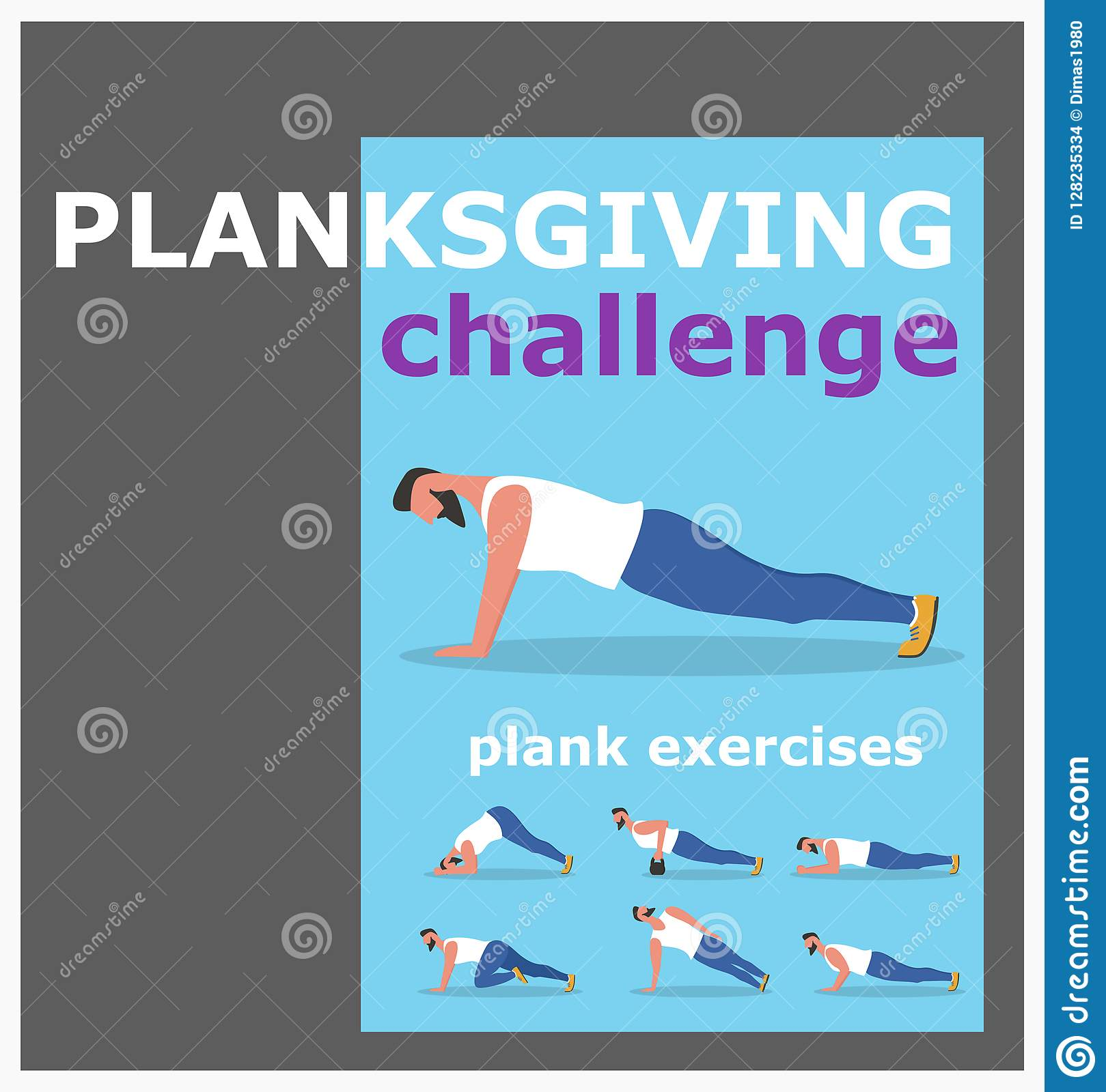 Fitness Man Doing Planking Exercise Stock Vector Illustration Of Sport Person 128235334