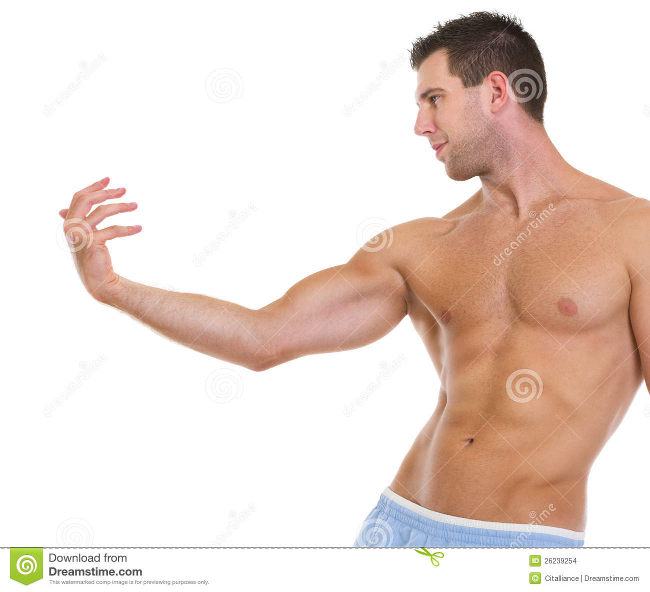 Fitness Man With Muscular Body Gracefully Posing Stock Image - Image ...