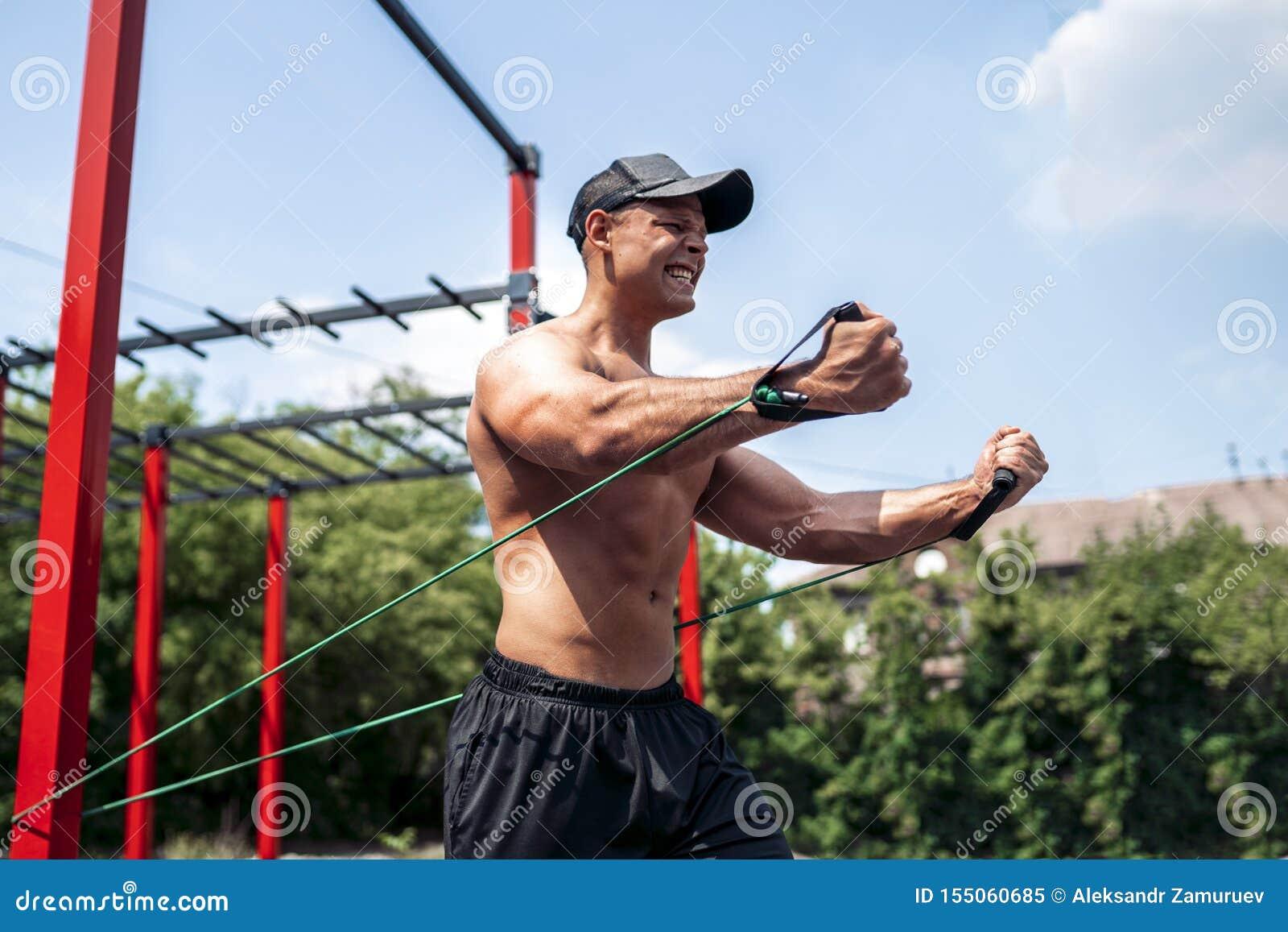 Winning Cheering Success Fitness Man In New York Stock