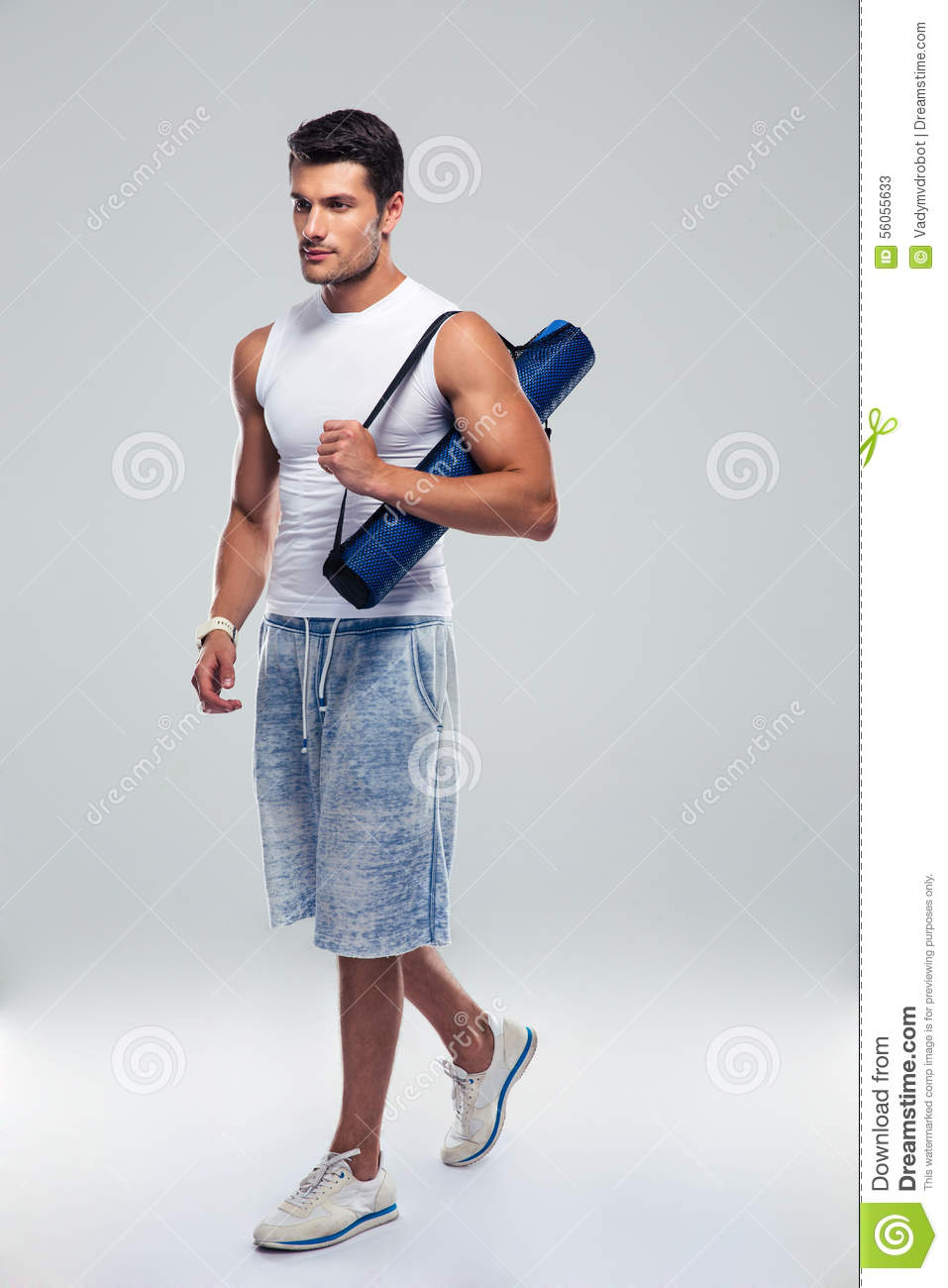 Fitness Man Walking With Yoga Mat Stock Image Image Of