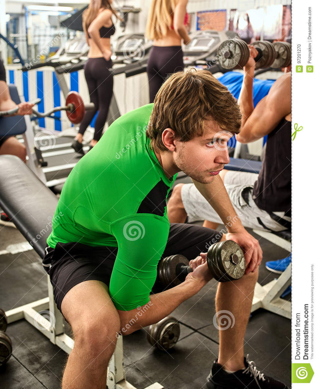 Fitness Men Friends In Gym Workout Weights With Equipment