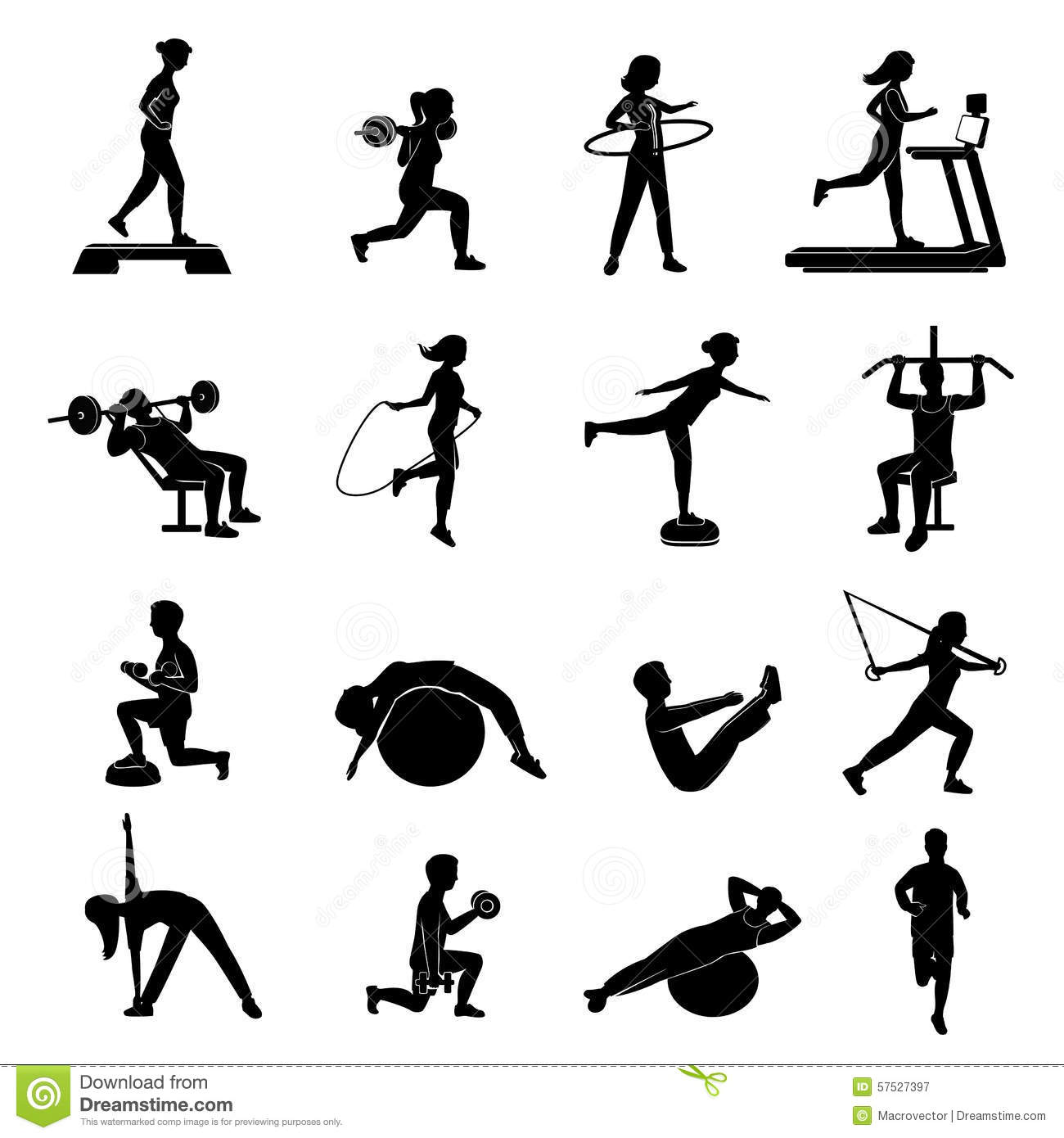 Fitness Men Women Blackicons Set Stock Vector - Image ...