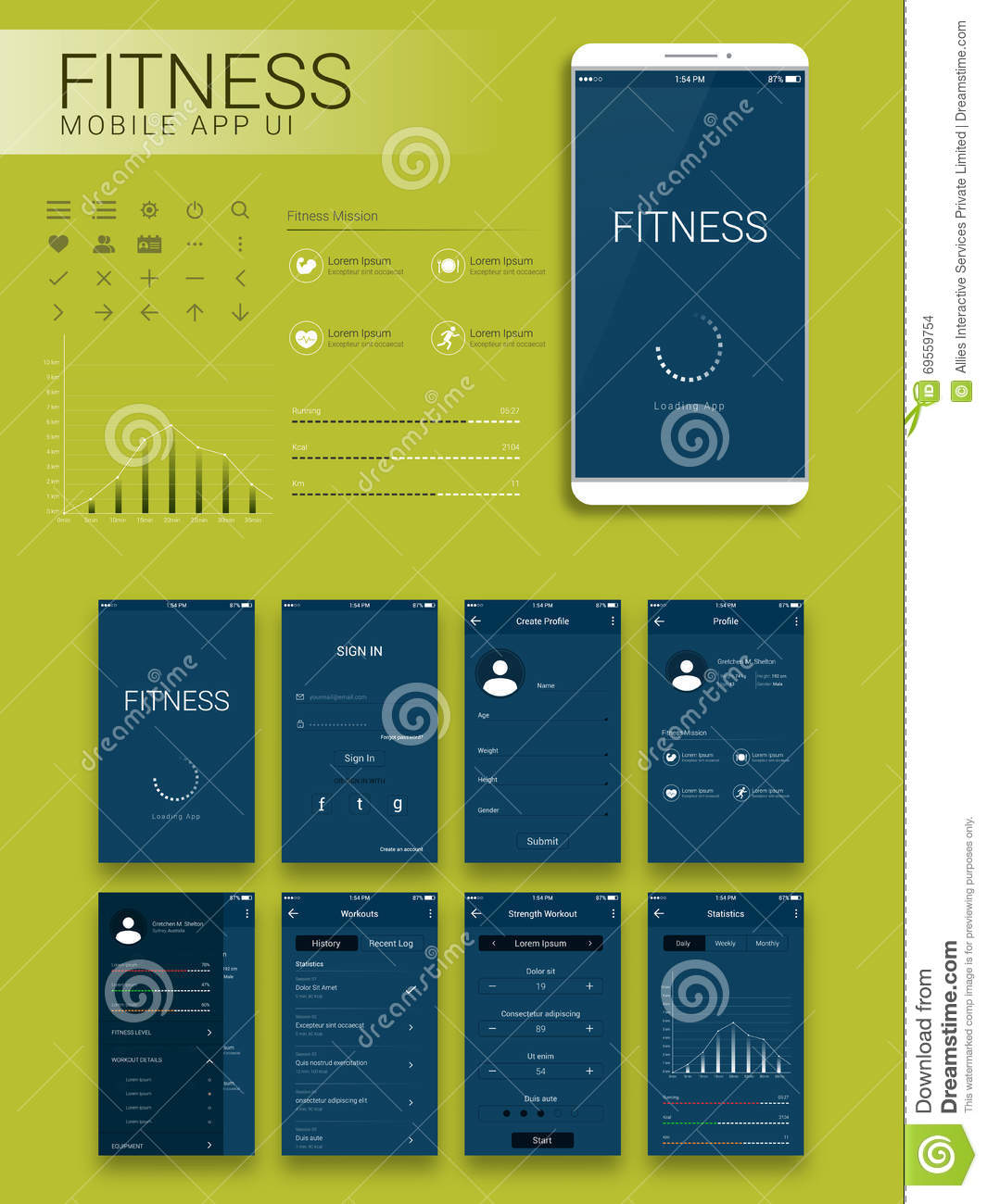 Fitness Mobile App Material Design Ui Ux And Gui Stock