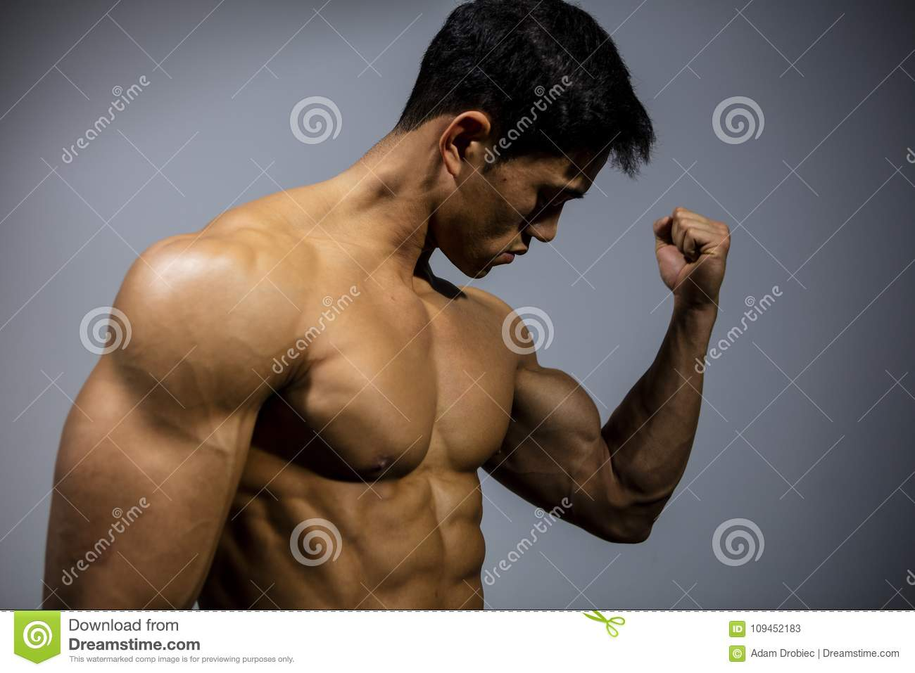 Fitness Model Flexing Bicep Muscle Stock Image Image Of Body