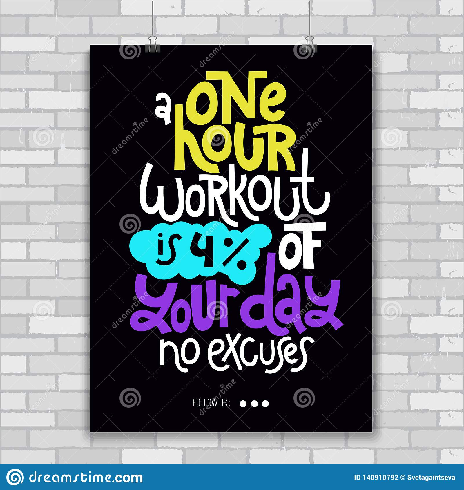 Fitness Motivational Quotes Stock Vector Illustration Of Calligraphy Girl 140910792