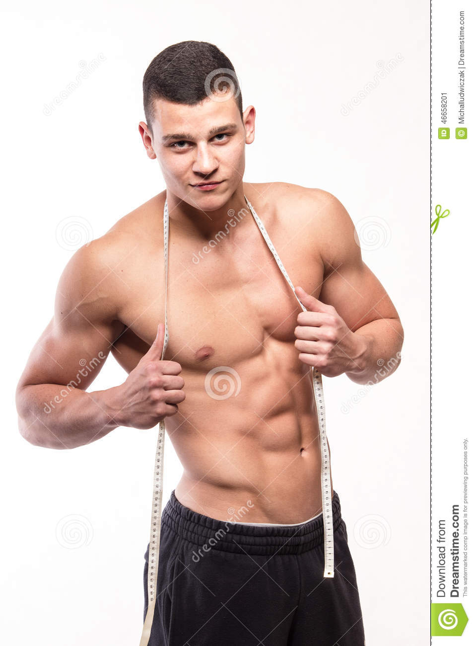 fitness muscular man with body measure healthy exercising