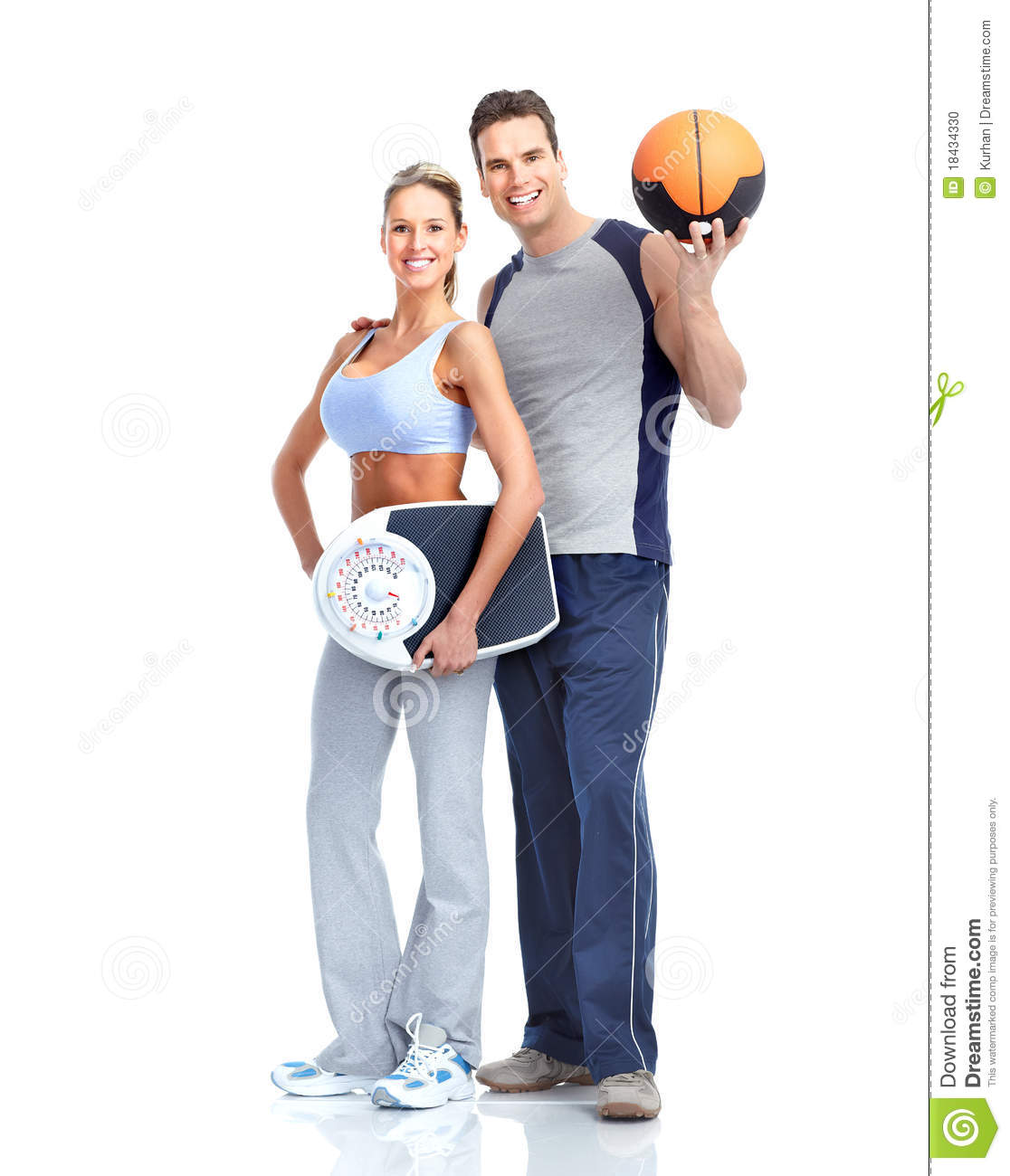 Healthy fitness people with a weight scale. Isolated over white ...