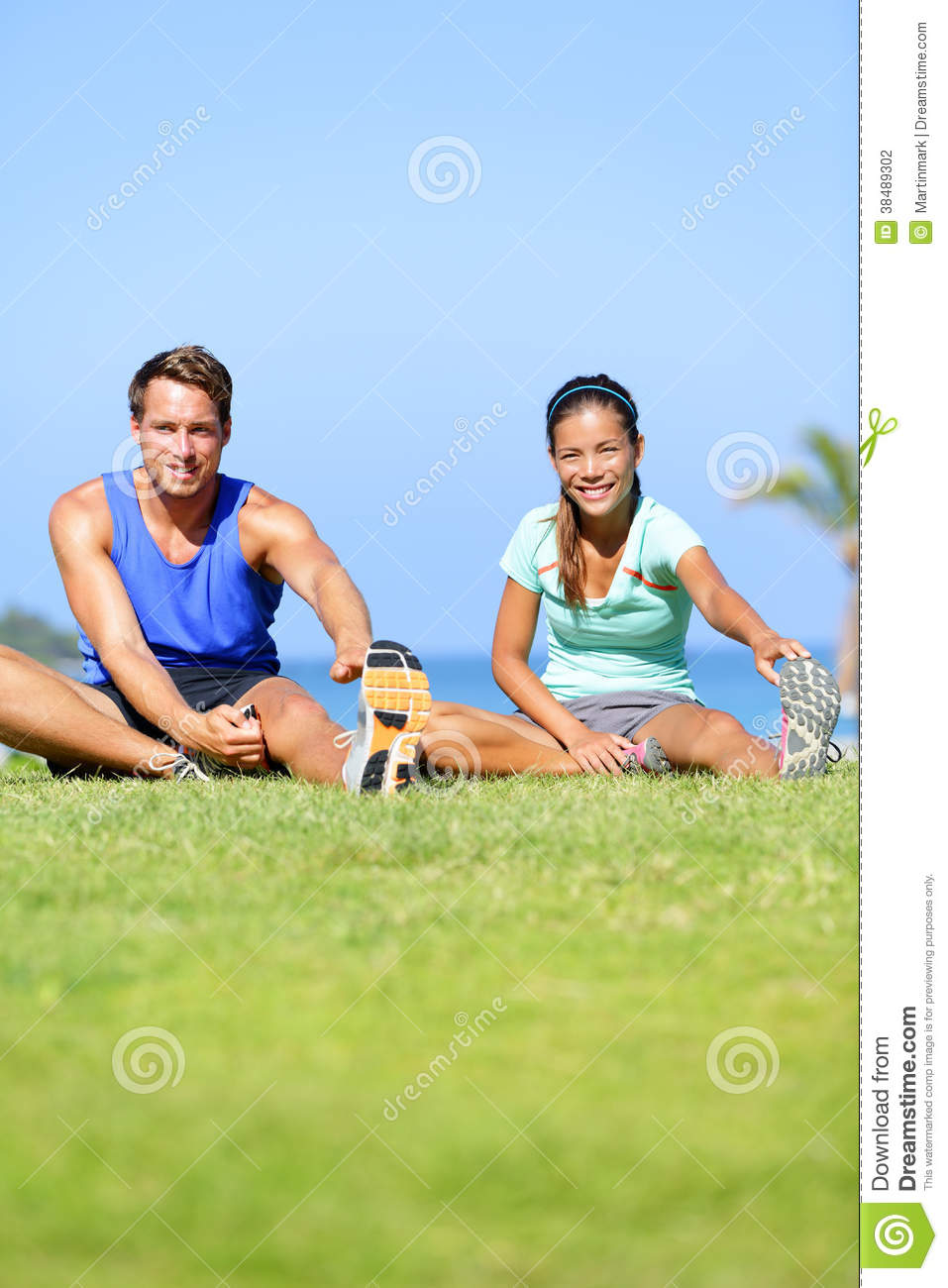 Fitness People - Couple Stretching Exercises Stock Photography - Image ...
