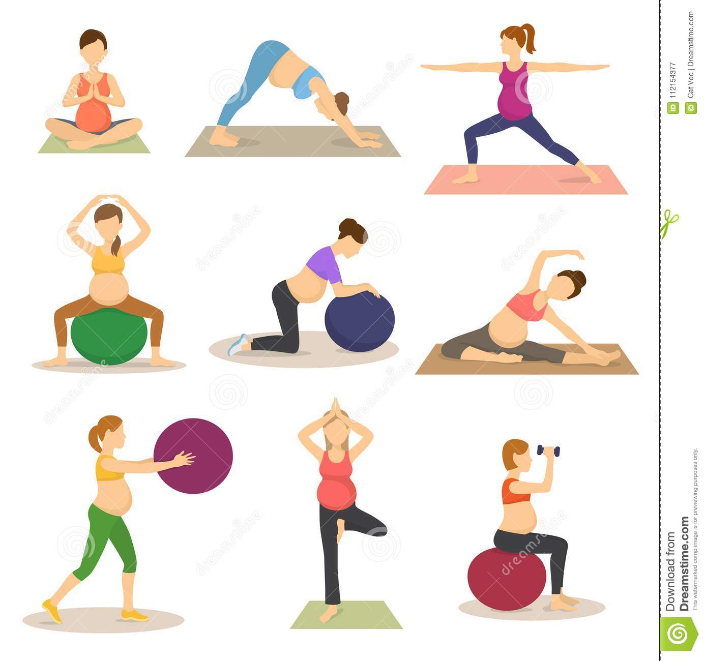 Fitness Pregnancy Vector Pregnant Woman Character Does Yoga
