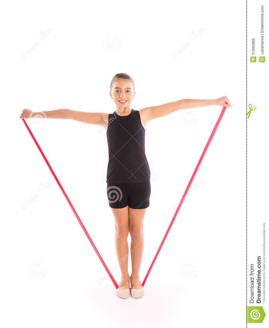 Fitness Rubber Resistance Band Kid Girl Exercise Stock Photo - Image ...
