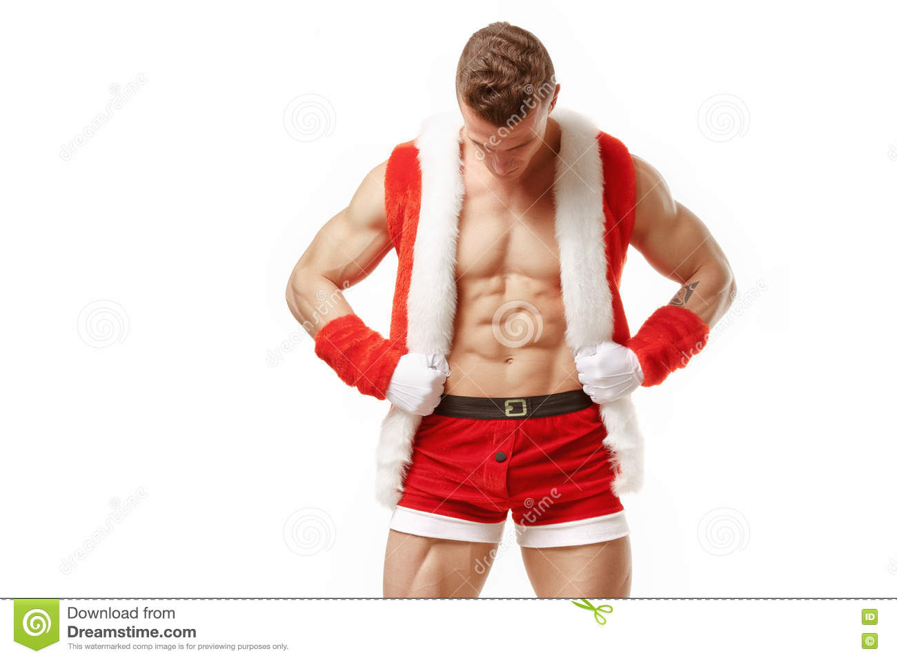 Fitness Santa Claus showing six pack abs.