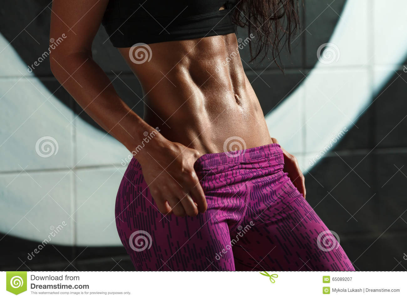 Fitness Sexy Woman Showing Abs And Flat Belly Beautiful Muscular Girl, Shaped -2311