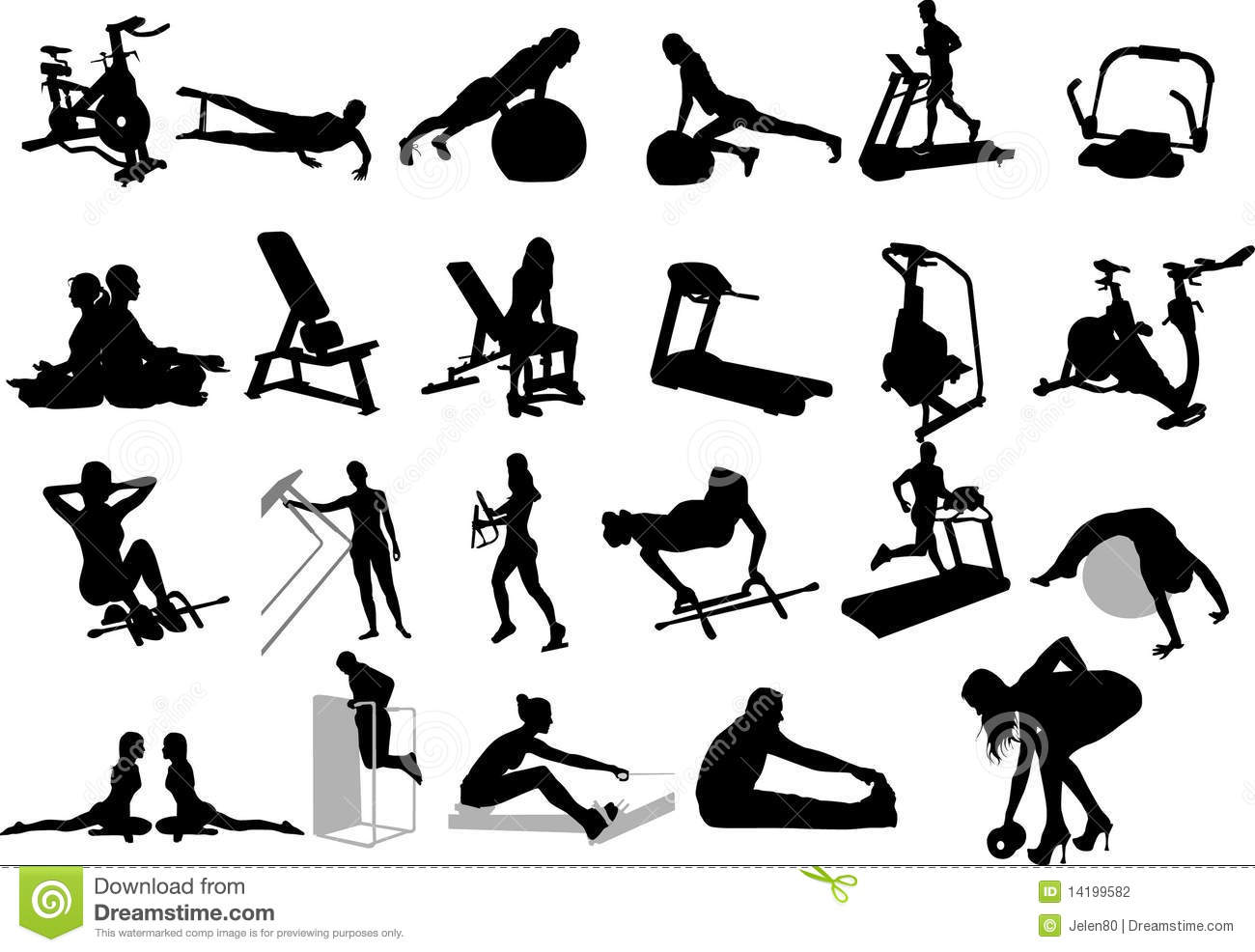 Stock Photography: Fitness silhouettes. Image: 14199582