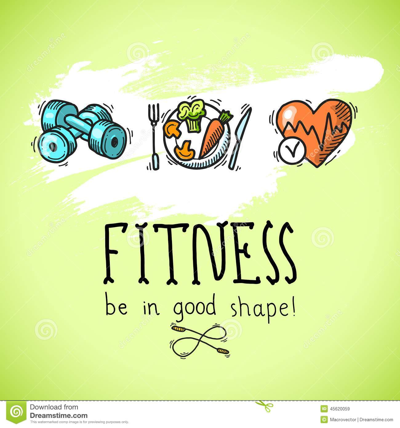 Fitness Sketch Poster Diet Training Sport Exercise Be Good Shape Colored Vector Illustration Box Nutrition