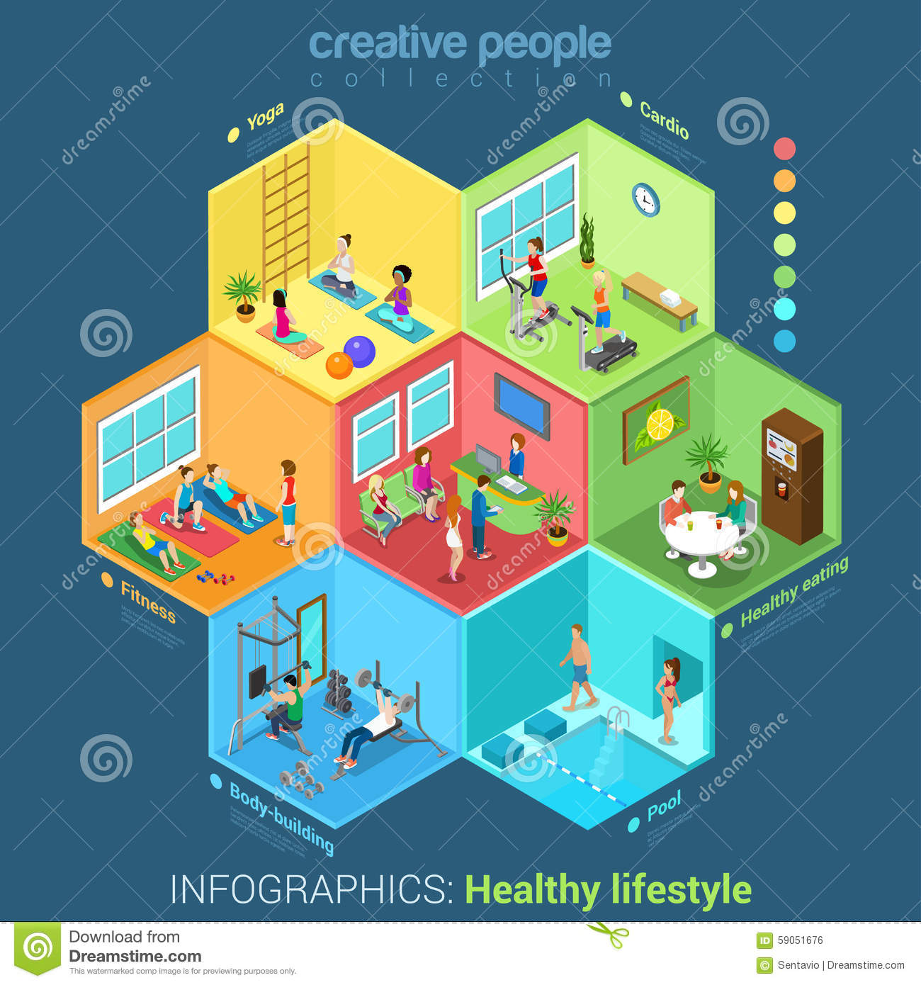 Fitness Sport Center Interior Flat Vector Concept Stock