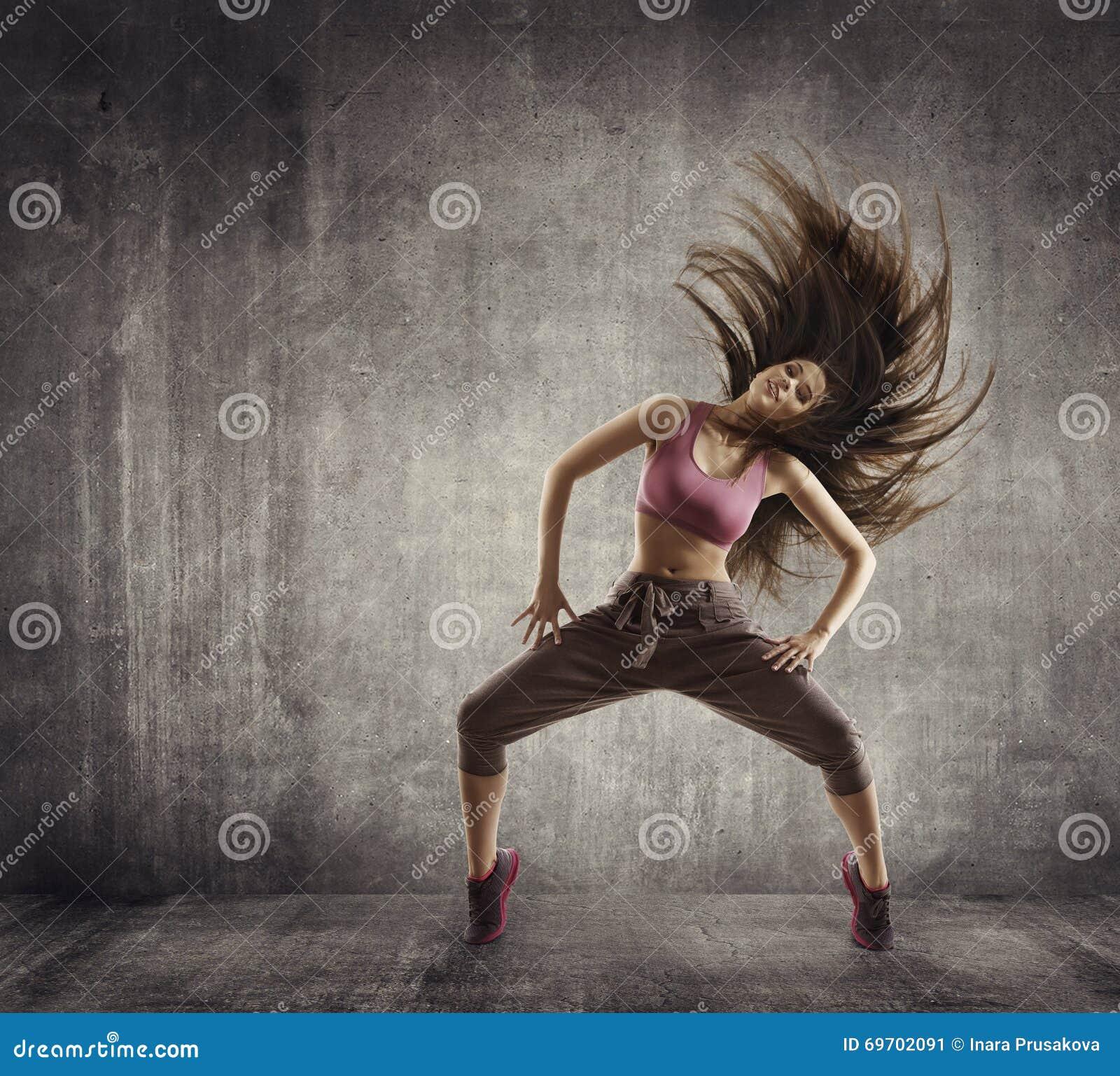 Fitness Sport Dance, Woman Dancer Flying Hair Dancing, Concrete