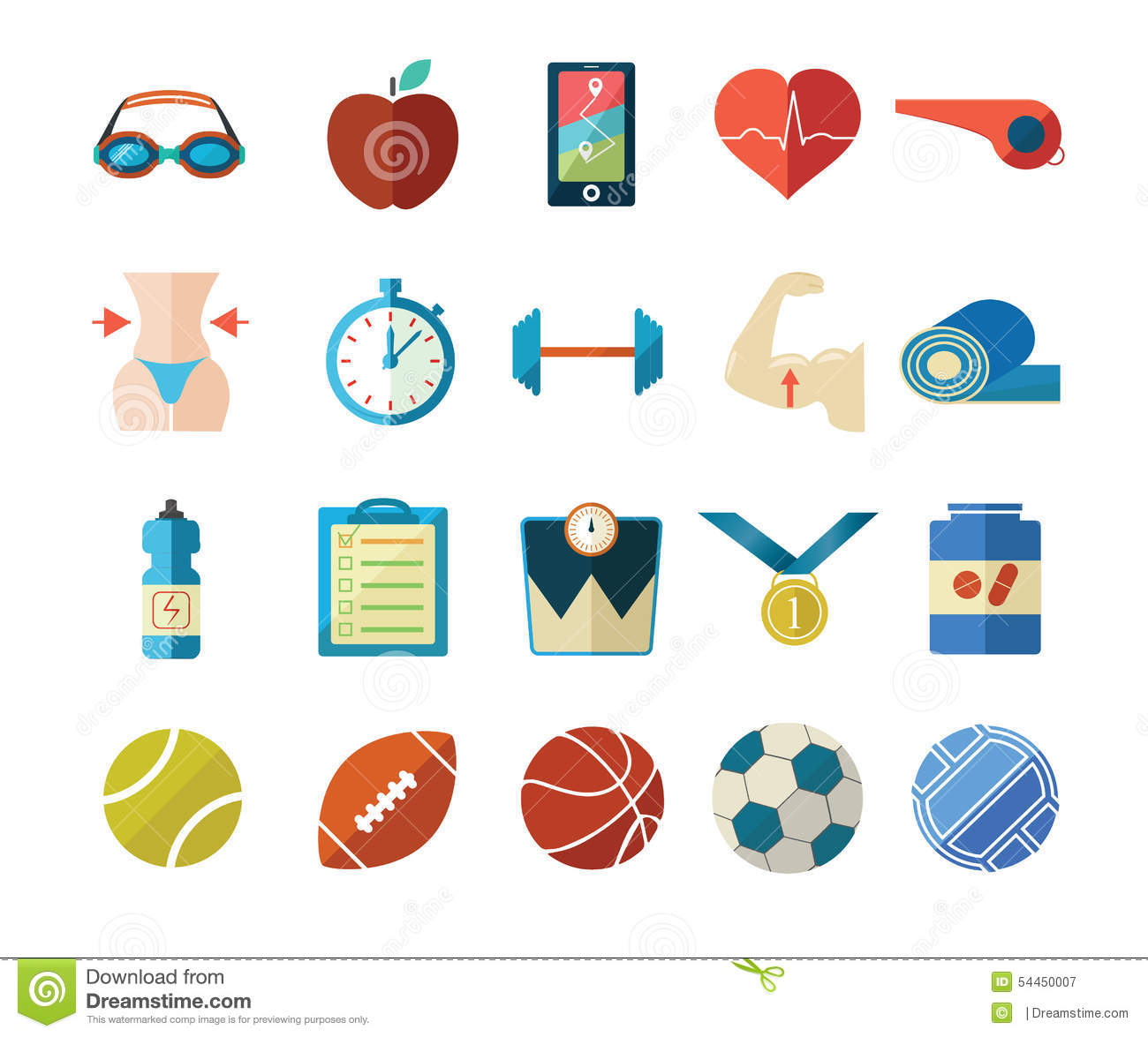 Fitness And Sport Flat Icons Stock Vector - Image: 54450007