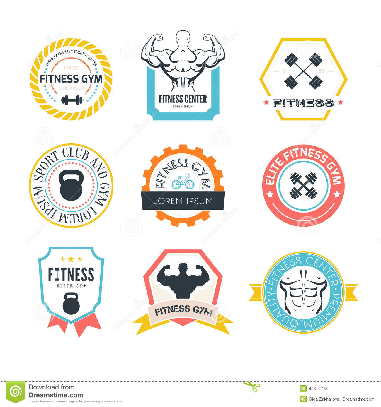 fitness and sport gym logos stock vector illustration of