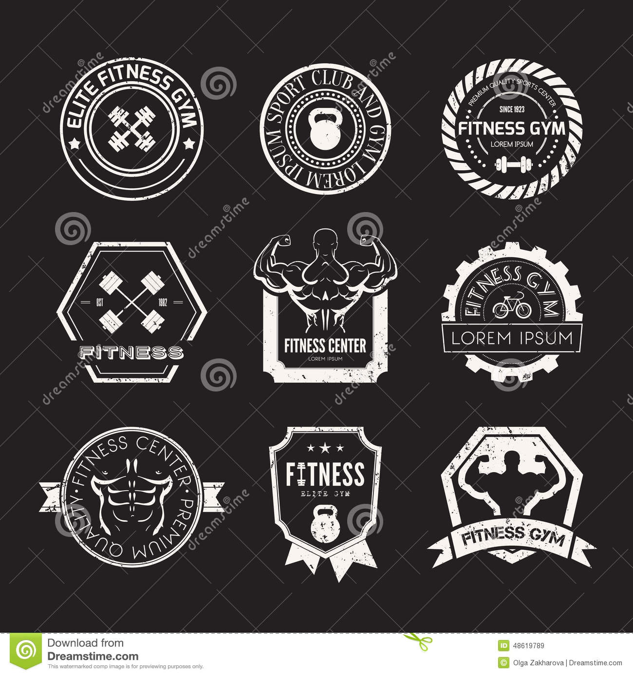 Fitness And Sport Gym Logos Stock Vector - Image: 48619789