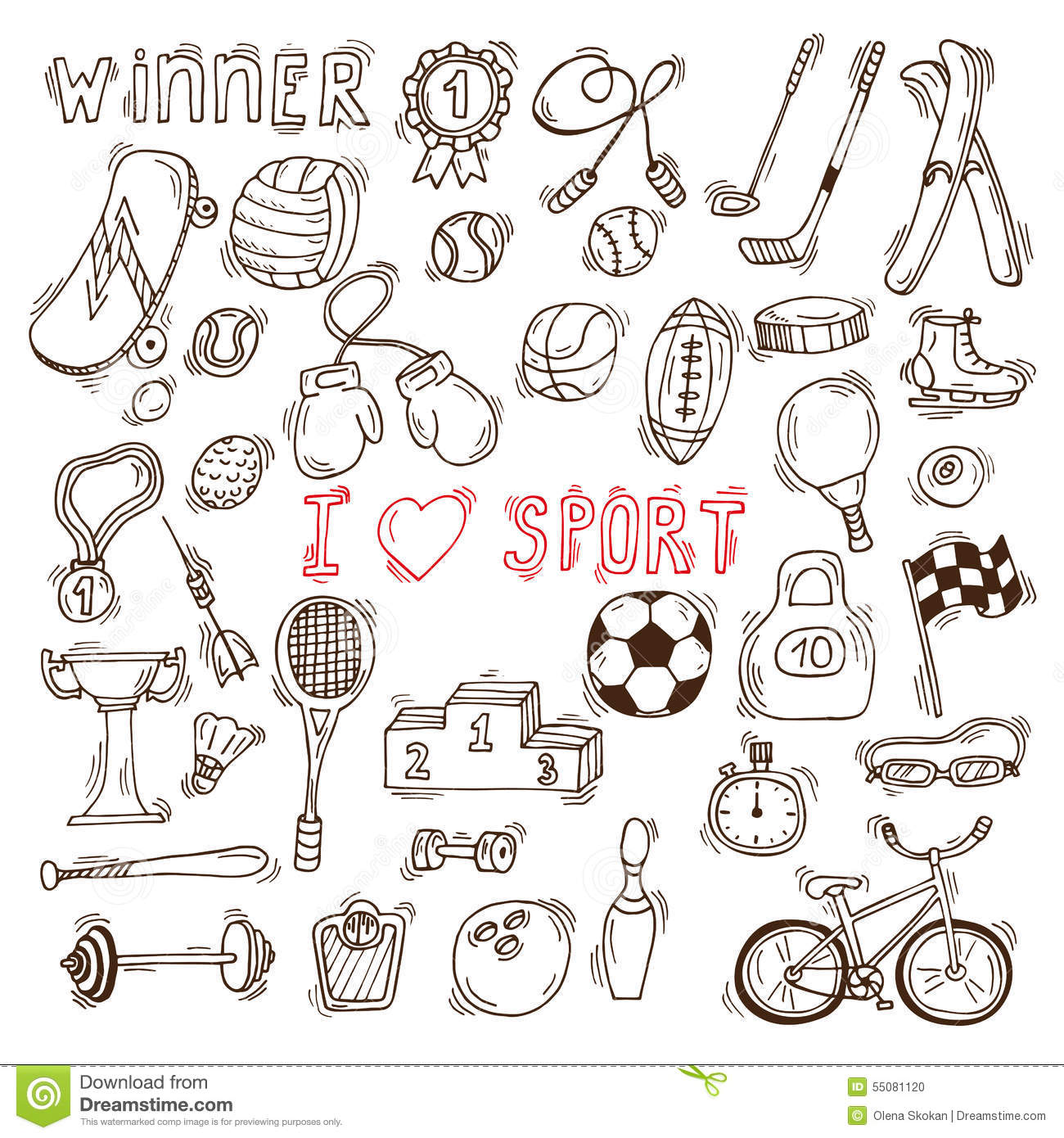 Hand Drawing Line Icons : Fitness and sport vector elements hand drawn doodle