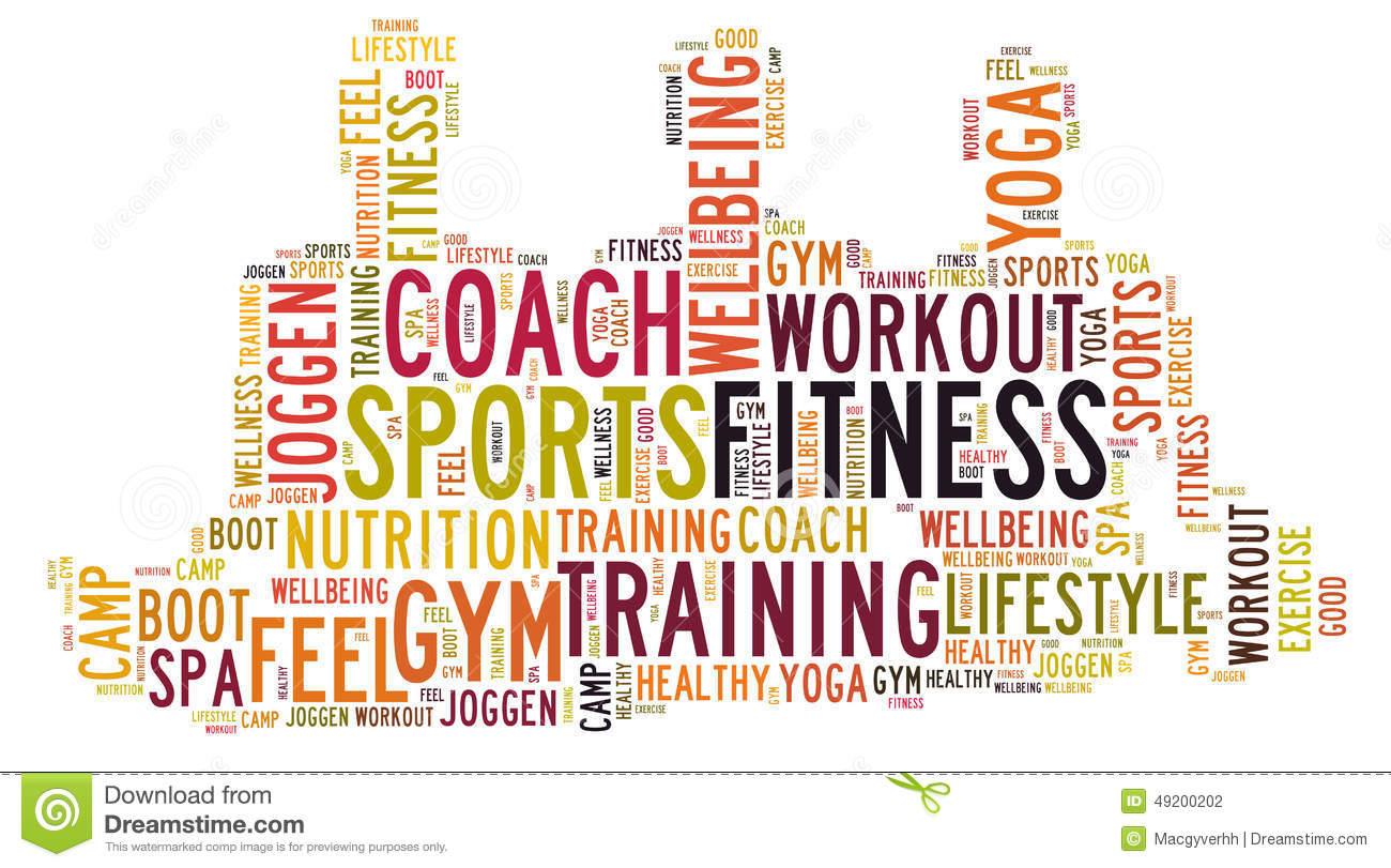 4cfe9b9c85b07 Fitness sports and wellbeing lifestyle word cloud. Designers Also Selected  These Stock Illustrations