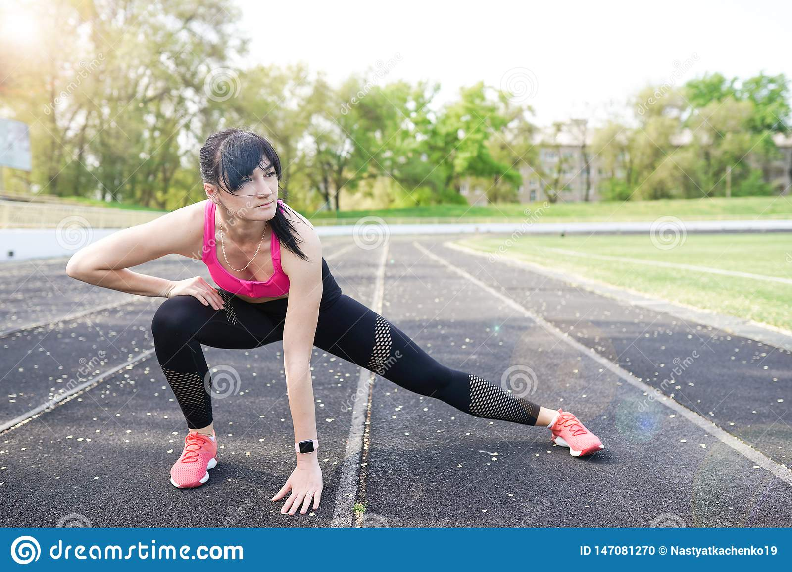 Fitness Sporty Woman During Outdoor Exercises Workout  Copy