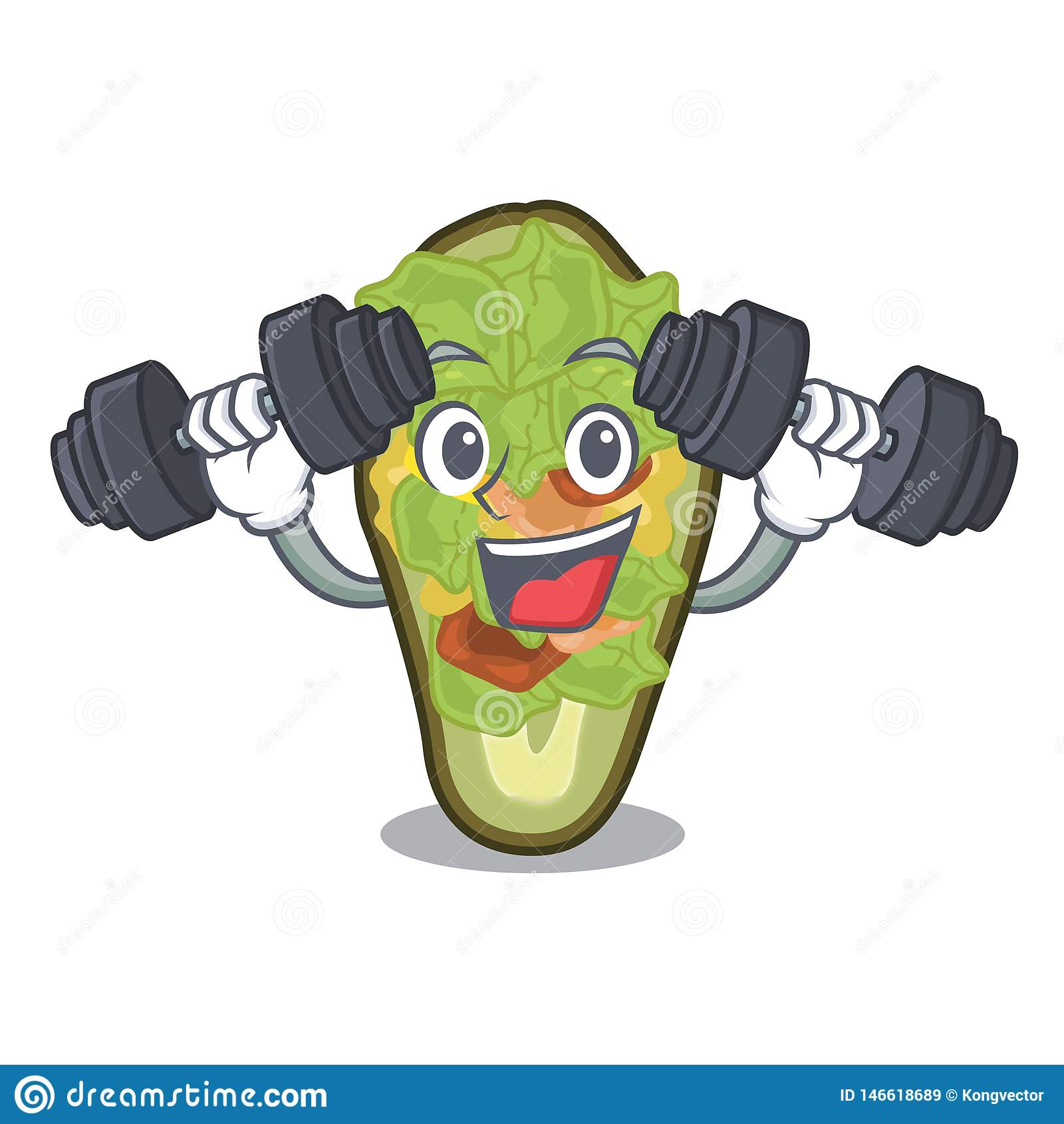 Fitness Stuffed Avocado Isolated With The Cartoon Stock ...