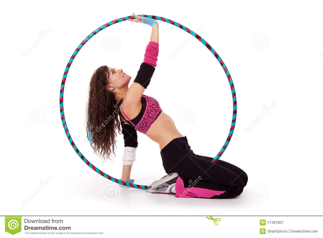 Fitness Teacher Posing In Hula Hoop Royalty Free Stock