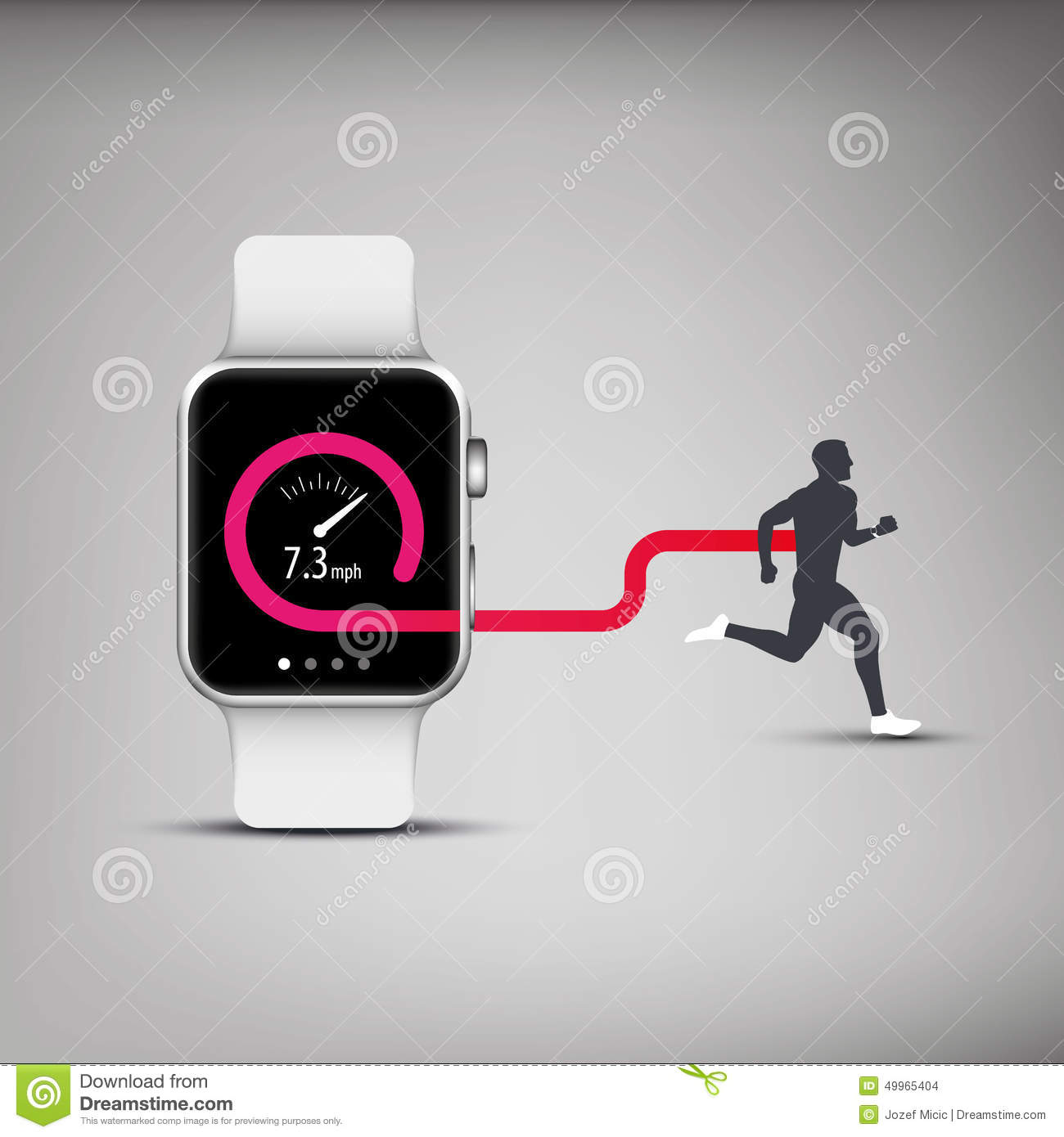 Fitness Tracker App For Smart Watch Concept With Stock ...
