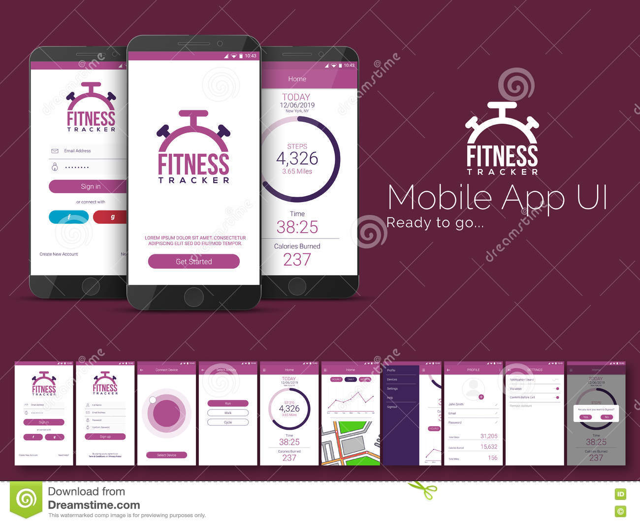 fitness tracker mobile app ui ux and gui template stock