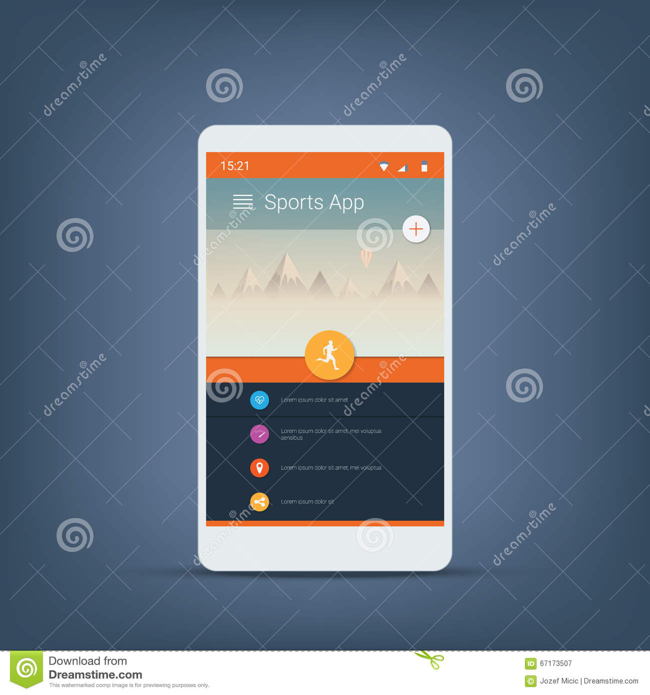 fitness tracker or sports app user interface icons template for