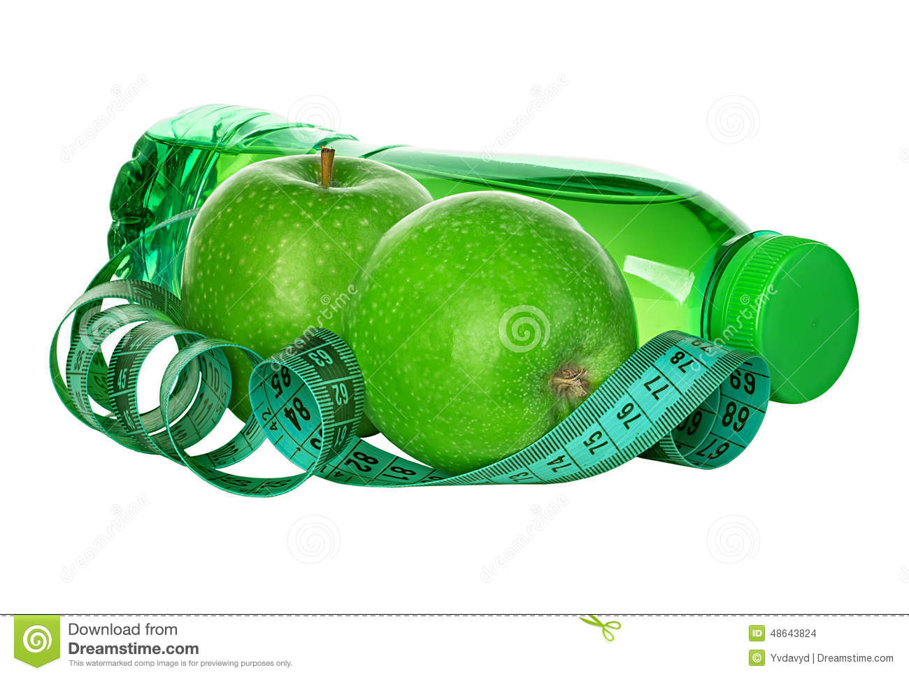 Glass of water with fruit and a tape measure royalty free