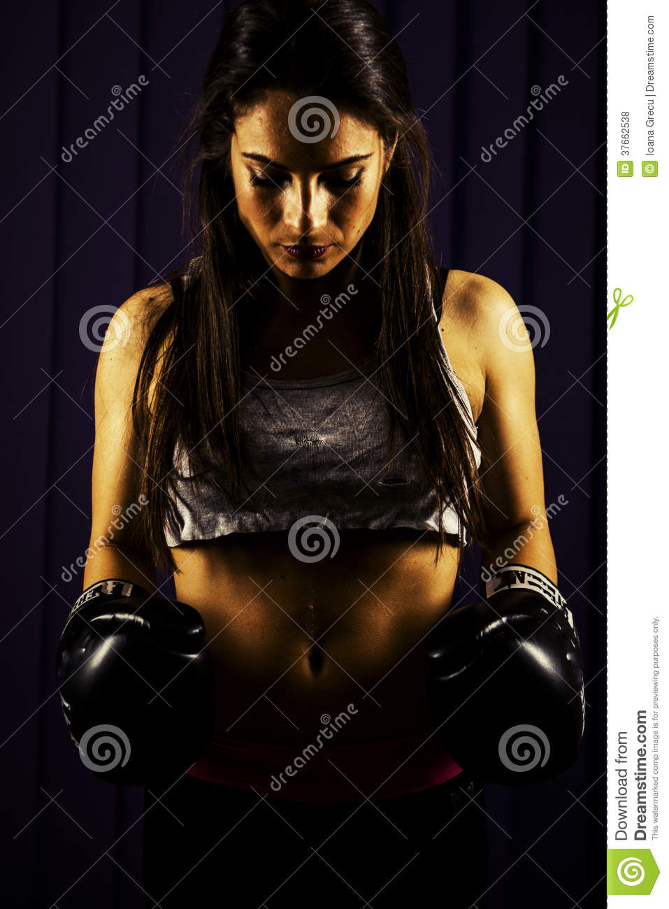 Fitness woman with boxing gloves