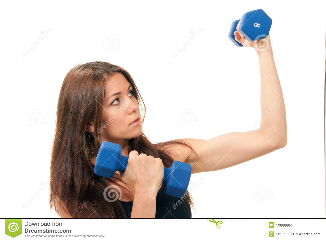 Fitness Woman On Diet Workout Dumbbells Stock Photo - Image