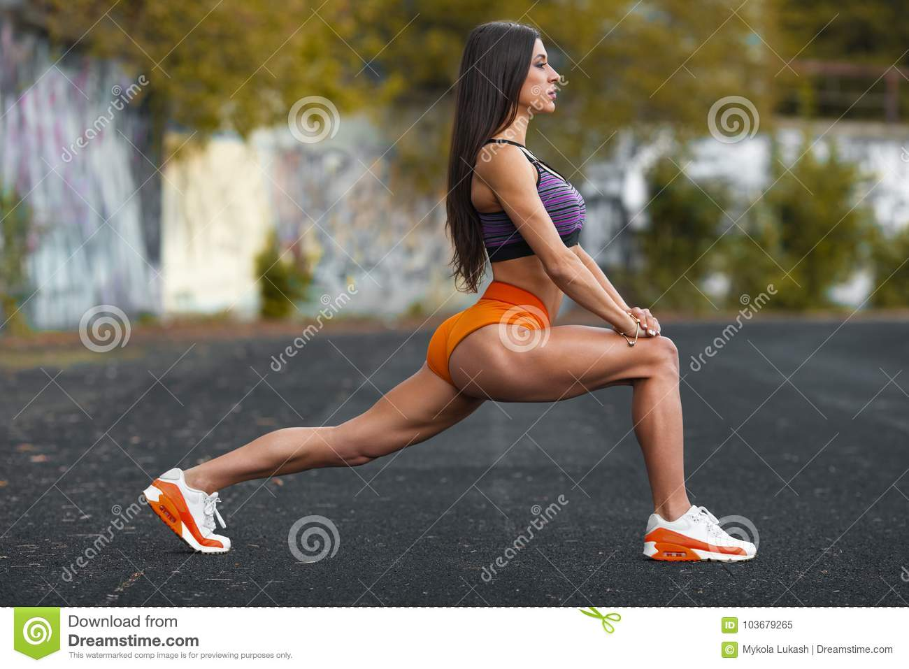 Fitness Woman Doing Lunges Exercises For Leg Muscle Workout Training