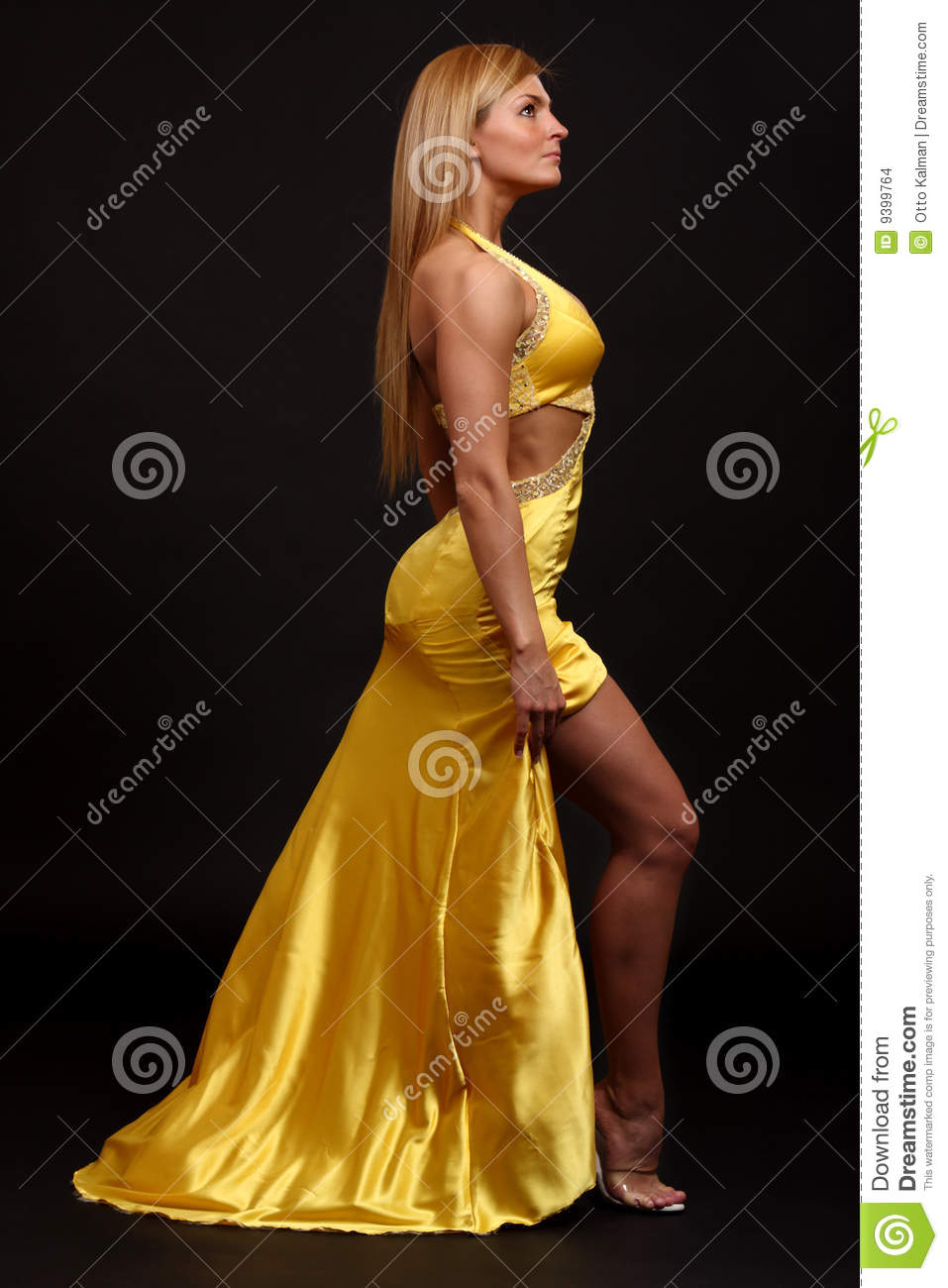 Fitness Woman In Evening-dress Stock Images