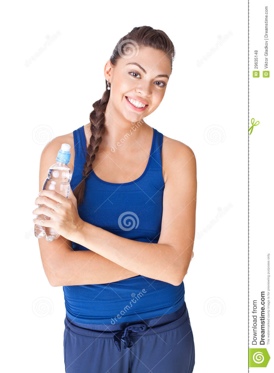 Fitness Woman Holding Bottle Of Water Isolated On White ...