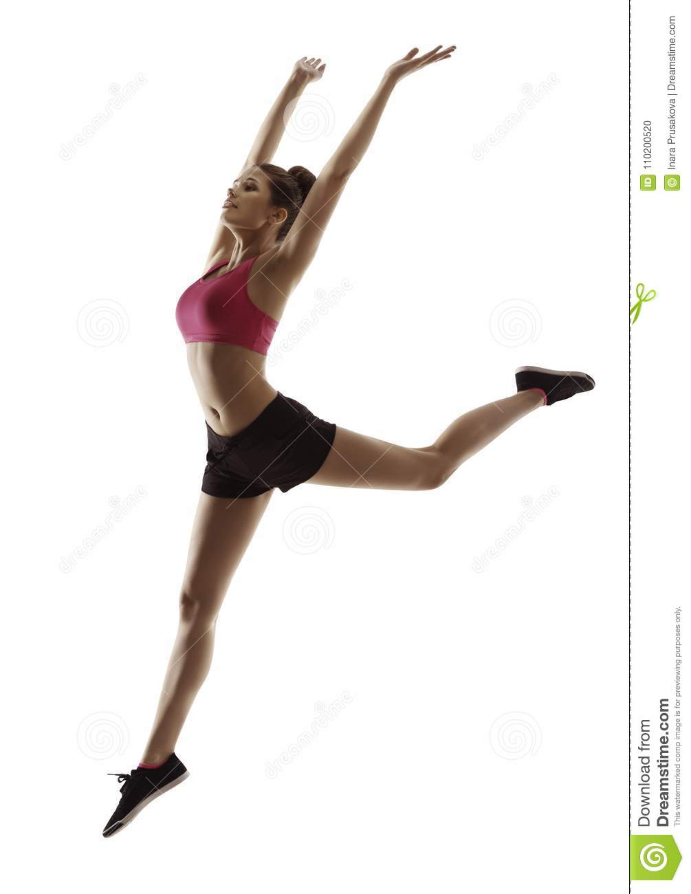 Fitness Woman Jump Gymnastics, Sport Exercise Jumping Girl on White