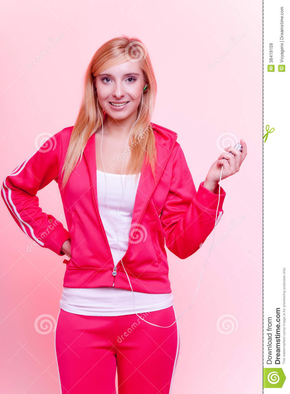 Fitness Woman Listen Music Mp3 Relax Gym Stock Image - Image