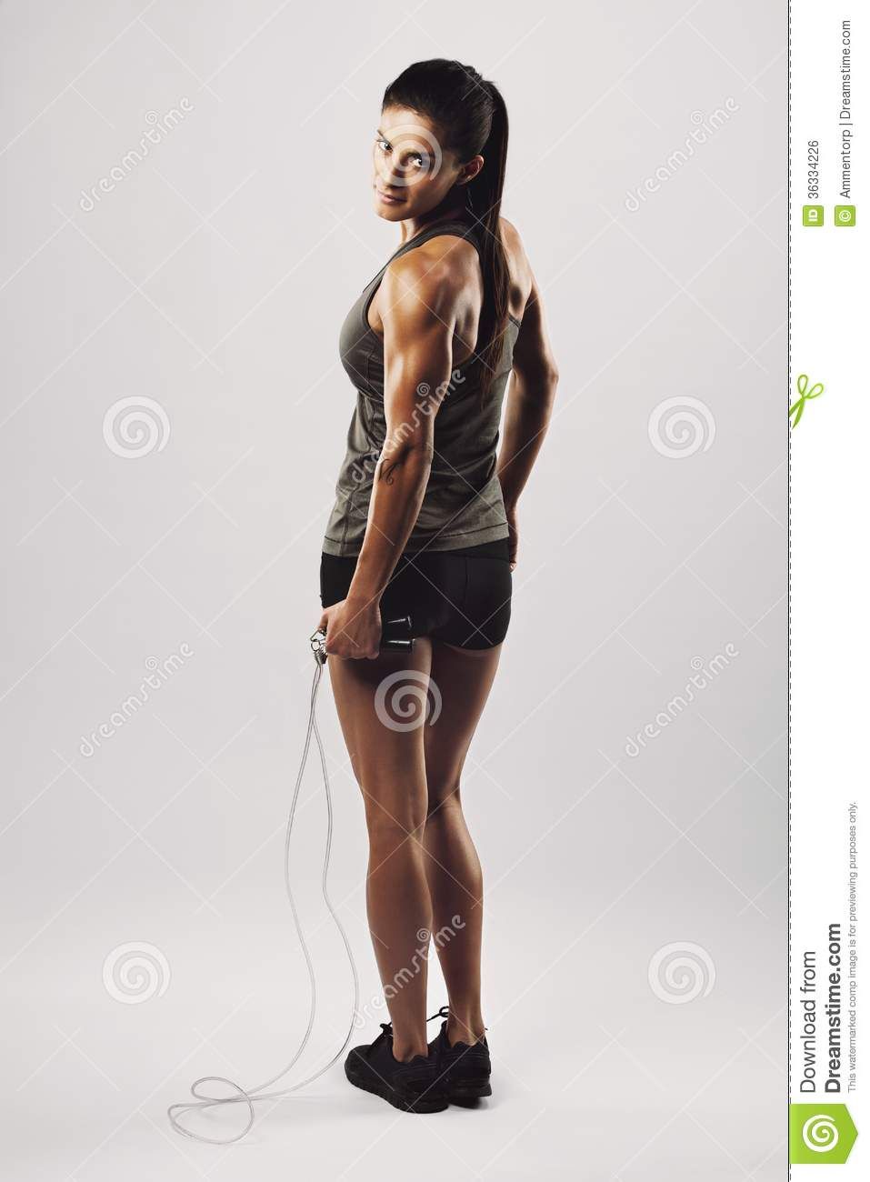 Fitness Woman Posing With Skipping Rope Royalty Free Stock Image - Image: 36334226