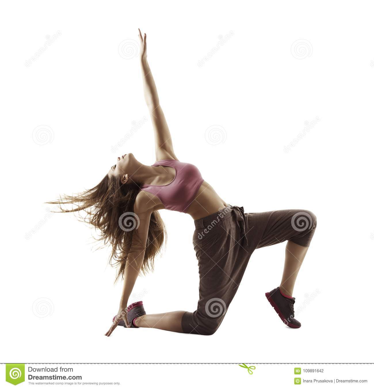 Fitness Woman Sport Dance, Girl Dancing Breakdance Gymnastic