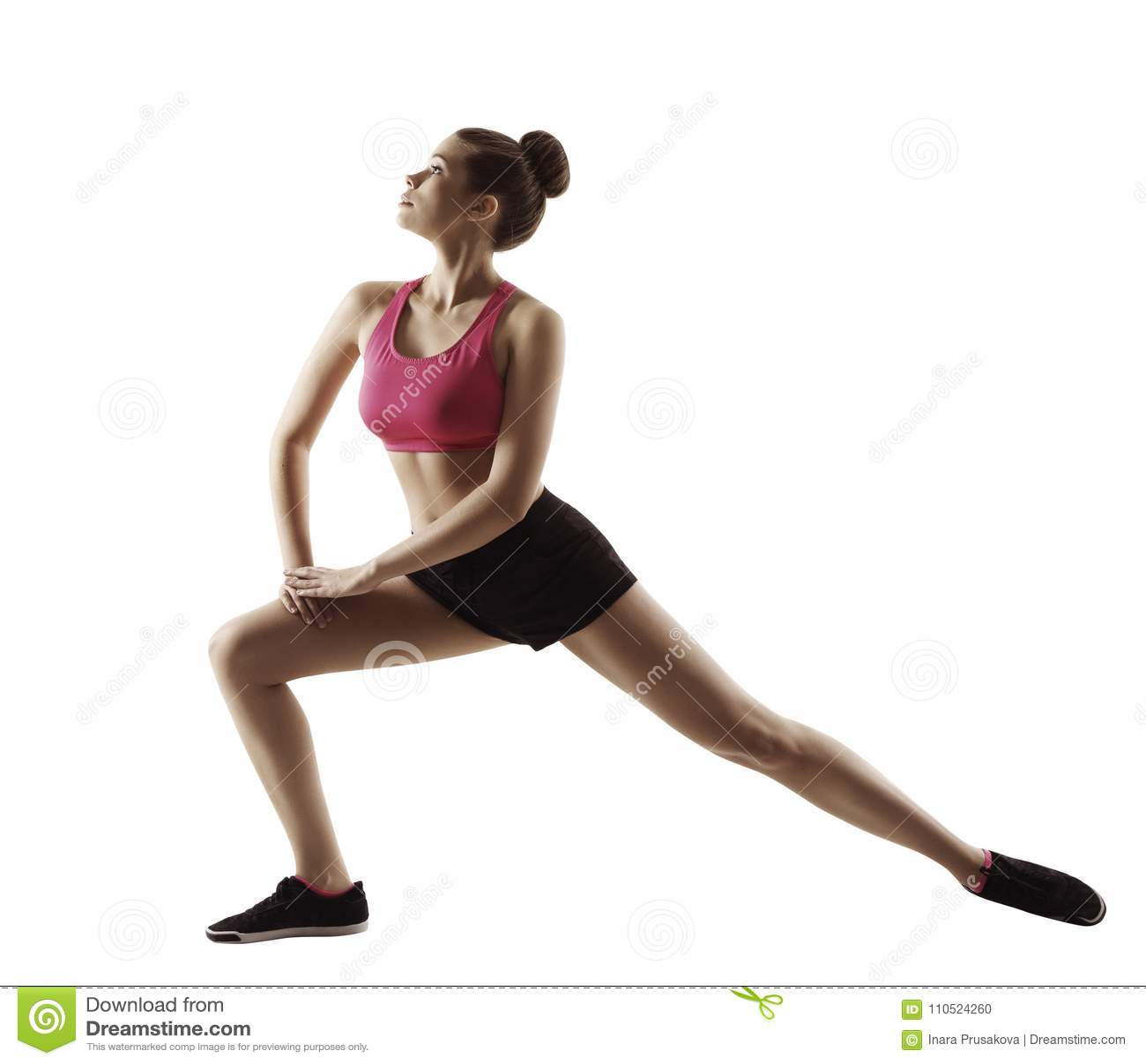 Fitness Woman Stretch Gymnastics Workout, Stretching Legs Sport