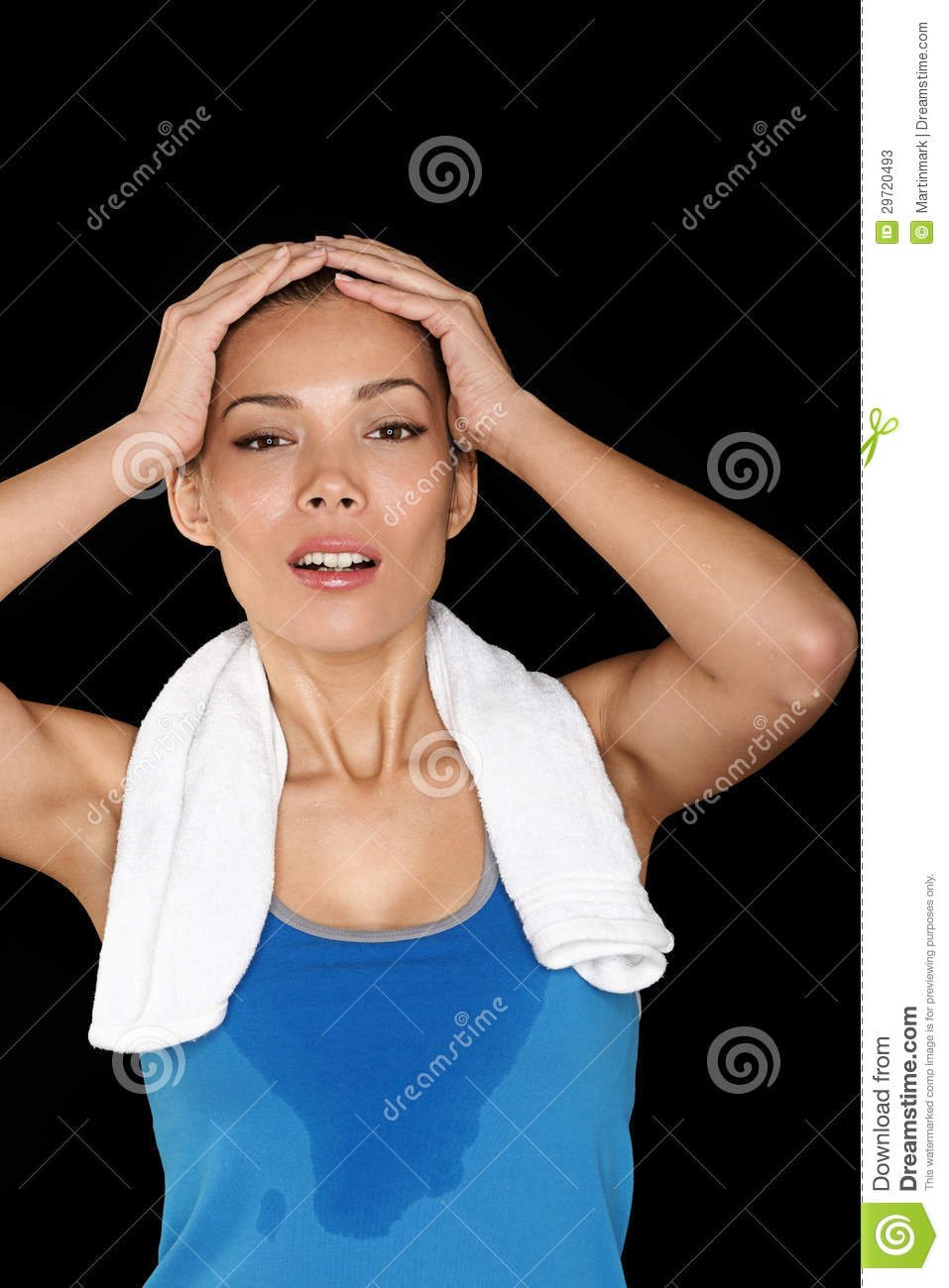 Fitness woman sweating beautiful sport girl with towel and sweat