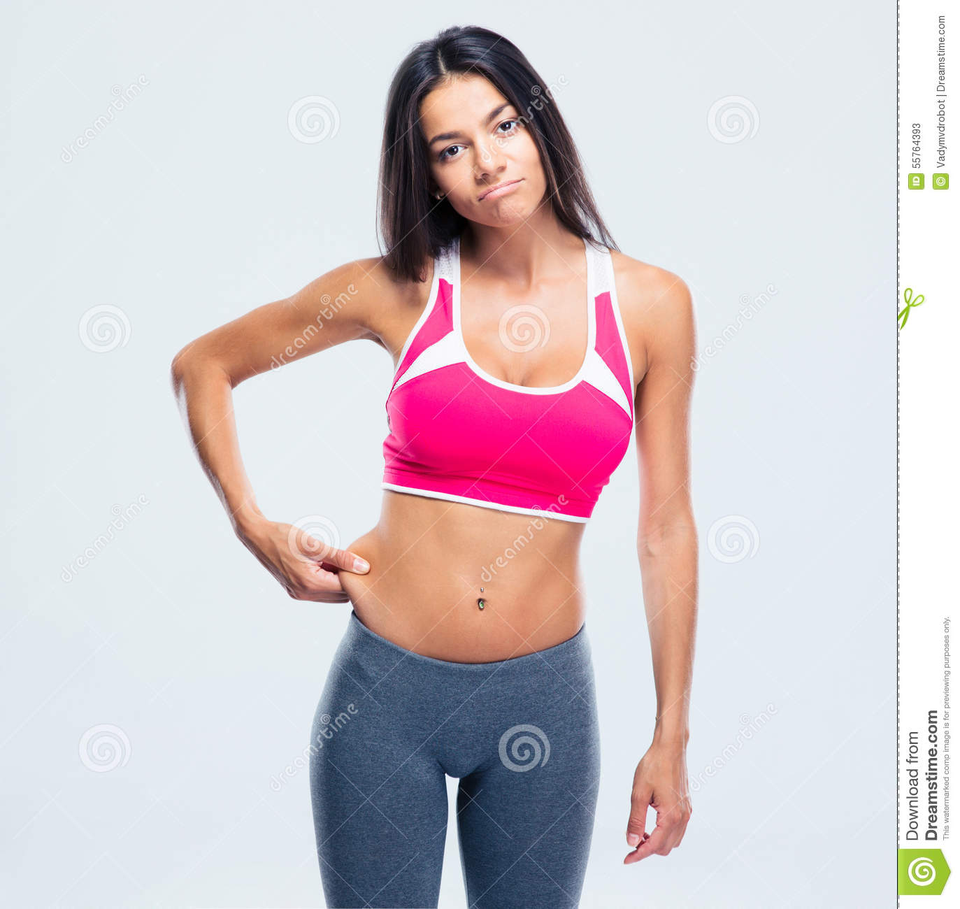Fitness Woman Touching Her Belly Fat Stock Image Image Of