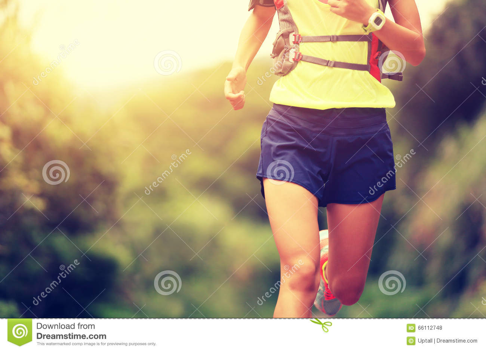 Fitness woman trail runner running on trail