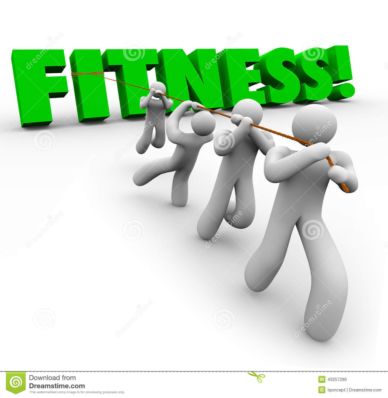 Physical Strength: Fitness Word Team Exercising Pulling Together Physical