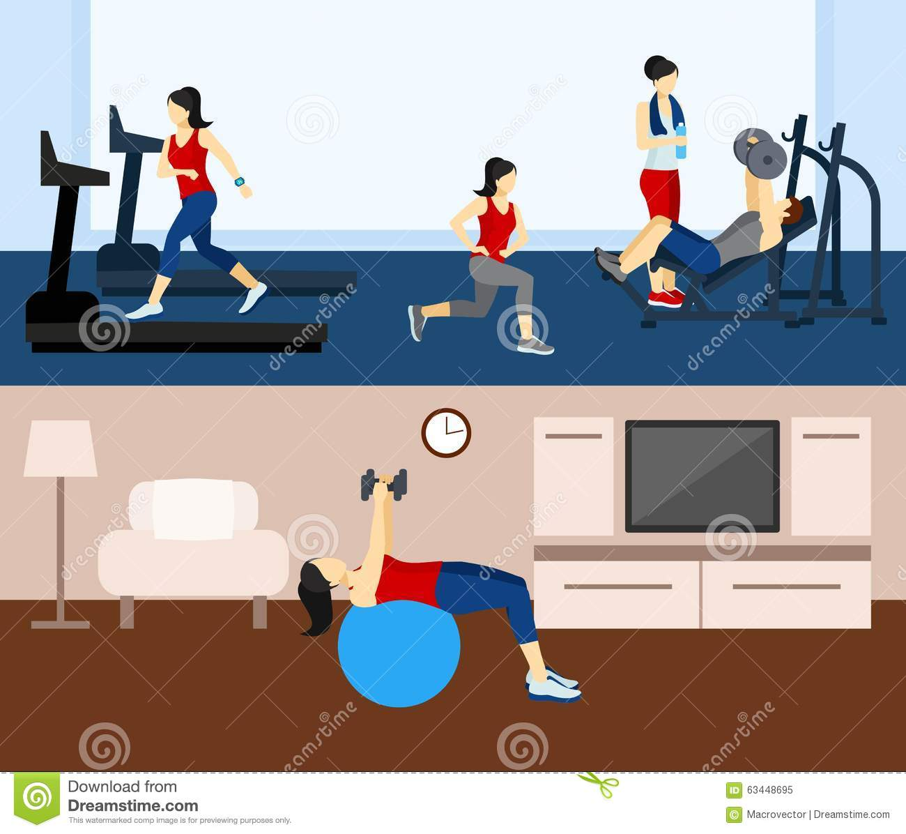 Fitness workout banner stock vector illustration of body