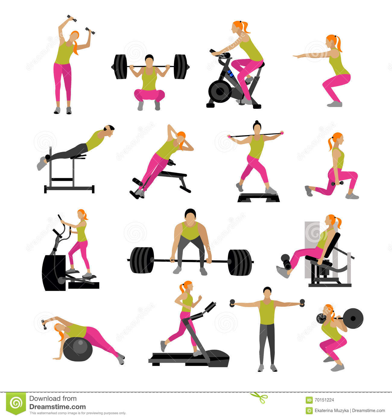 Fitness And Workout Exercise In Gym. Vector Set Of Icons Flat Style Isolated On White Background ...