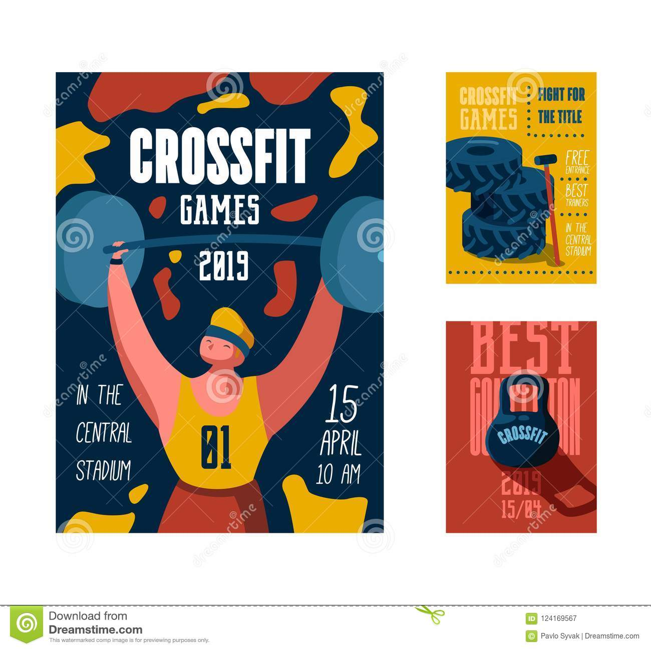 Fitness Workout Gym Poster Placard Invitation Crossfit Banner Flyer With Strong Man